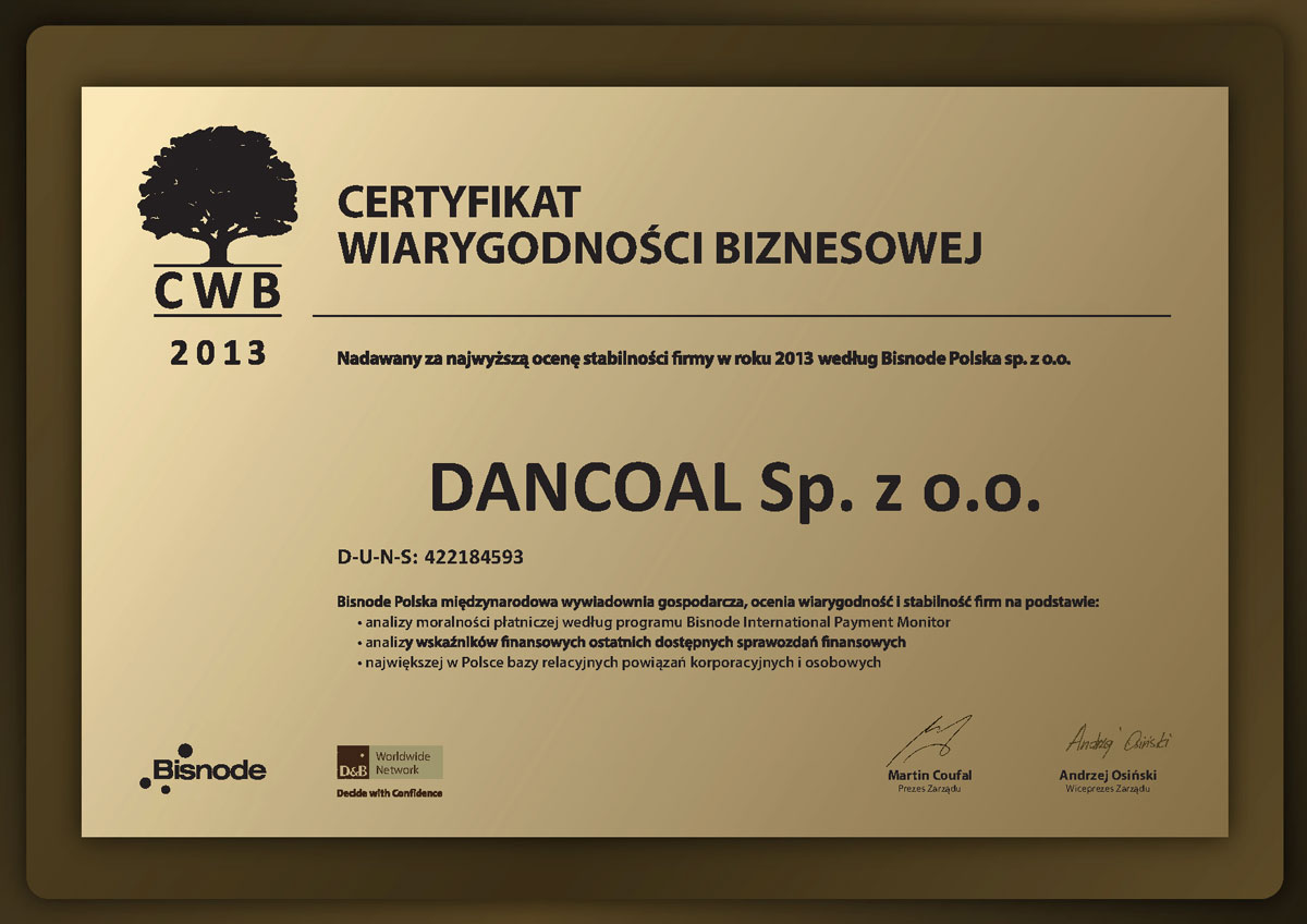 Certificate of Business Credibility
