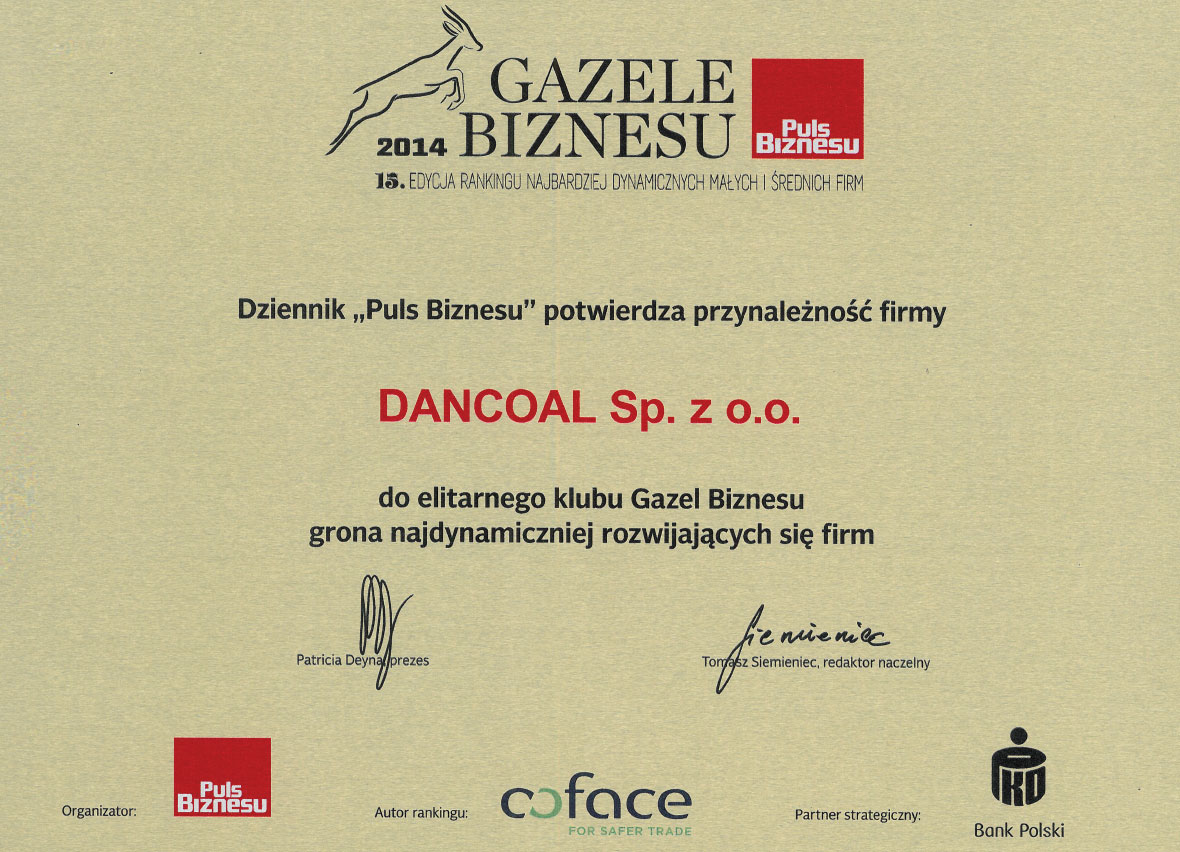 Dancoal - nagroda Gazela Biznesu 2014