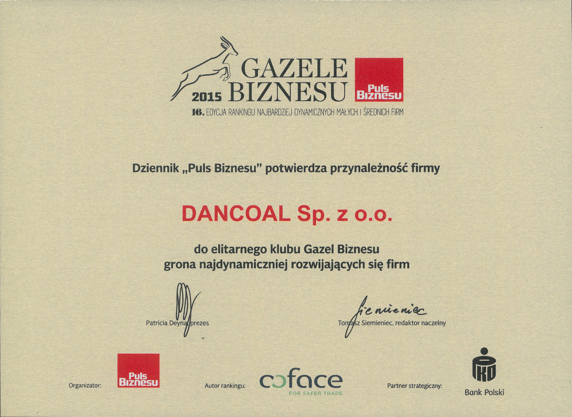 Dancoal - Business Gazelle 2015
