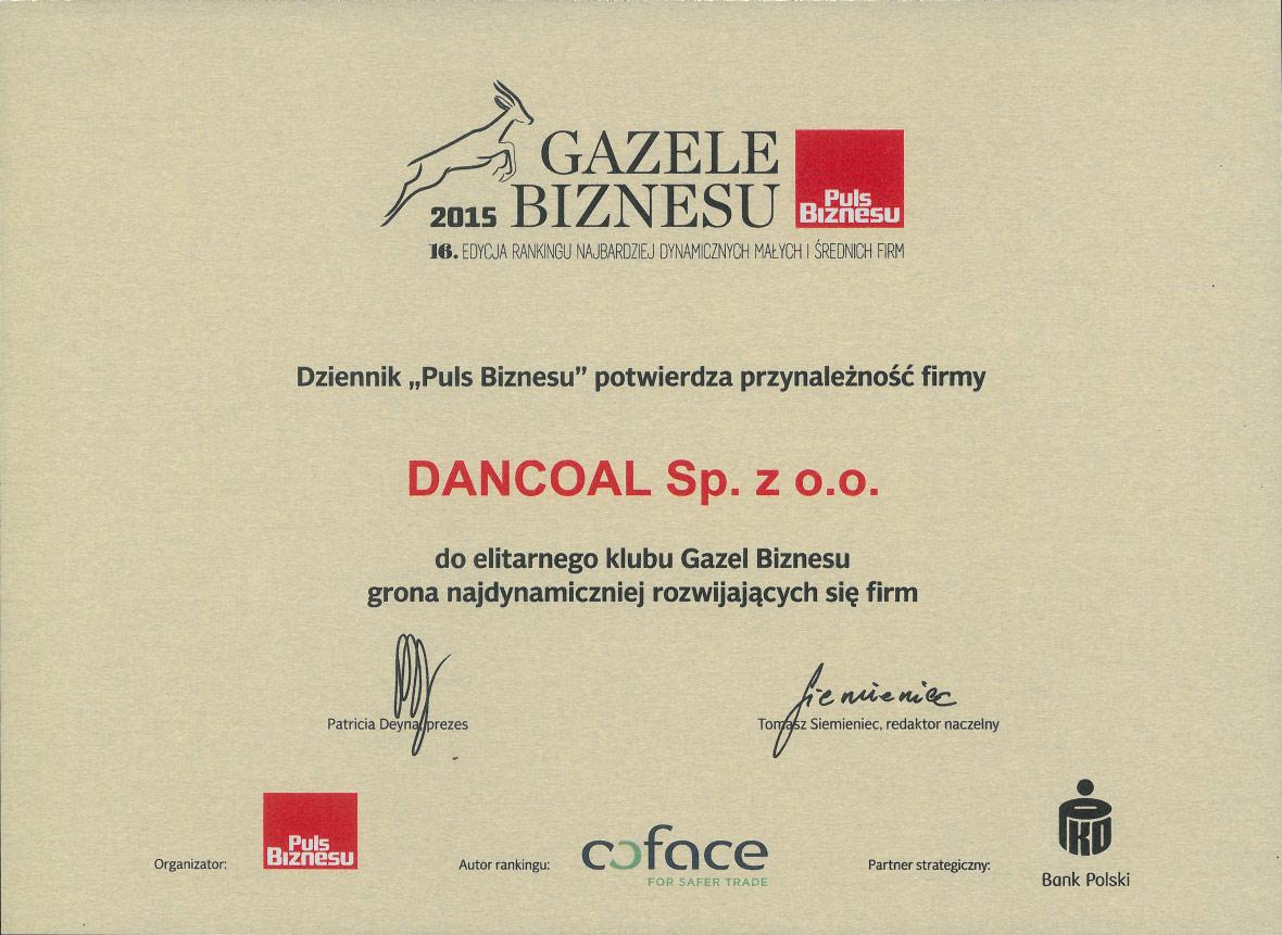 Dancoal - nagroda Gazela Biznesu 2015